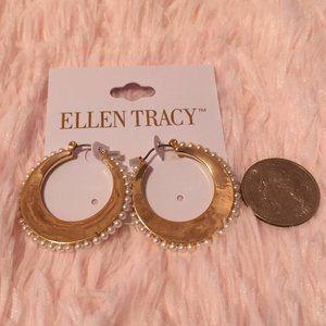 NWT Ellen Tracy Gold Hoop Pearl Earrings